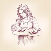 Bebé de Madonna mary tenencia Jesús vector Ilustracion — Vector de stock