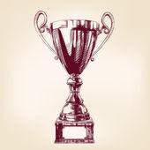 Award trophy hand drawn vector llustration — Stock Vector