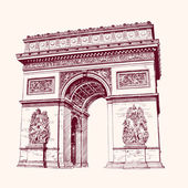 Arch of Triumph, Paris. hand drawn vector illustration — Stock Vector
