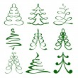 Christmas trees sketch set vector  illustration — Stockvektor