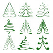 Christmas trees sketch set vector  illustration — Stok Vektör