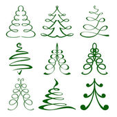 Christmas trees sketch set vector illustration — Stock Vector