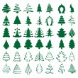 Christmas trees sketch set vector  illustration — Imagen vectorial
