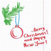Sketchy Christmas tree vector illustration — Stock Vector