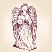 Dibujado a mano ángel — Vector de stock