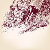 üzüm şarabı ile illüstrasyon vektör — Stok Vektör