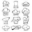 Chef hats collection  cartoon vector  illustration — Stock Vector