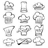 Sombreros de chef de dibujos animados colección de ilustración vectorial — Vector de stock