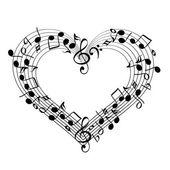 Music from heart sketch cartoon vector illustration — Stock Vector