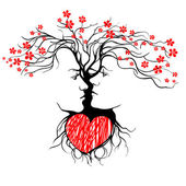 Silhouette of kissing couple shaped by tree. — Cтоковый вектор