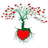 Silhuett av kyssande par formas av träd. — Stockvektor
