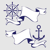 Set of banners with marine icons. Vector Illustration. — Stock vektor