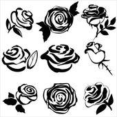 Black silhouette of rose set symbols vector illustration — Stockvector