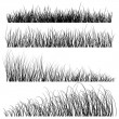 Set of vector grass silhouettes backgrounds — Stock Vector