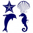 Marine animals icon set — Stock Vector