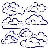 Clouds collection sketch cartoon vector illustration — Stock Vector