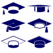 Graduation cap icon set — Stock Vector