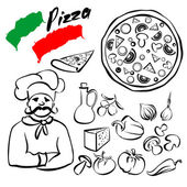 Pizza collection sketch cartoon vector — Stock Vector