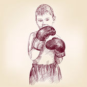 boy boxer  - hand drawn vector llustration realistic sketch — Vetorial Stock