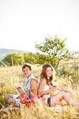 Para siedzieć na łące — Zdjęcie stockowe