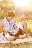 Young couple in the picnic — Stock Photo