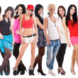 Large group of young women — Stock Photo