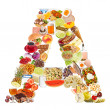 Letter A made of food — Stock Photo #12549633