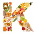Letter K made of food — Stock Photo