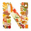 Letter N made of food — Stock Photo