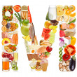 Stock Photo: Letter M made of food
