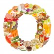 Letter O made of food — Stock Photo