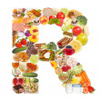 Letter R made of food — Stock Photo