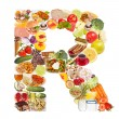 Letter R made of food — Stock Photo #12549762