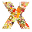Stock Photo: Letter X made of food