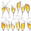 Collection of champagne glasses — Stock Photo
