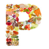 Letter P made of food — Stock Photo