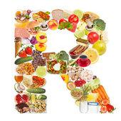 Lettre r faite d'aliments — Photo