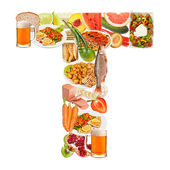 Letter T made of food — Stock Photo