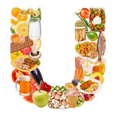 Letter U made of food — Stockfoto
