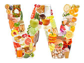 Letter W made of food — Stockfoto