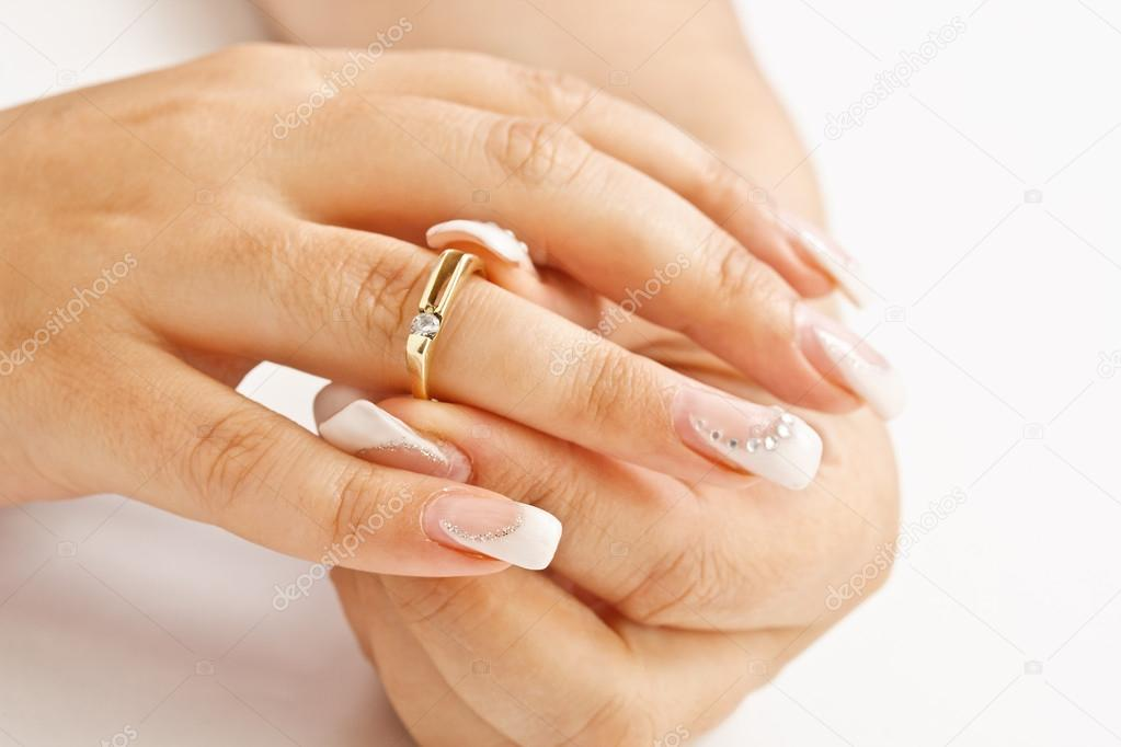 Woman tries on her beautiful ring — Stock Photo #12585711
