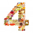 Number 4 made of food — Stock Photo