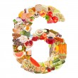 Number 6 made of food — Stock Photo #12686556