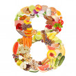 Number 8 made of food — Stock Photo