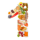 Number 1 made of food — Stock Photo