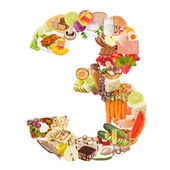 Number 3 made of food — Stock Photo