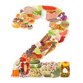 Nummer 2, hergestellt aus essen — Stockfoto