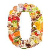 Number 0 made of food — 图库照片