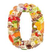 číslo 0 vyrobené z potravin — Stock fotografie