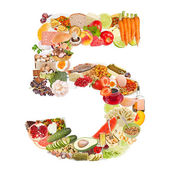 Number 5 made of food — Stock Photo